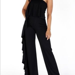 Pants - Wide Leg Strapless Jumpsuit with ruffle trimmed